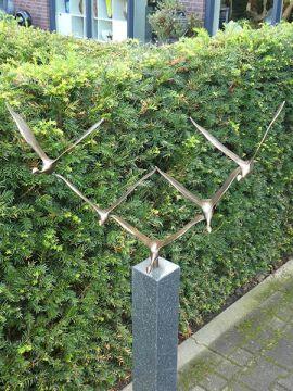 Skulptur 5 Schwäne Bronze