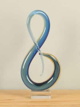 Skulptur Glas blau/gelb RF2036