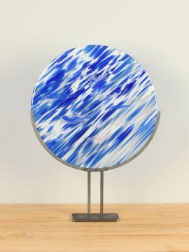 Dekoration Scheibe Glas vienna blau