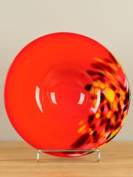 Schaal glas rood/oranje A011