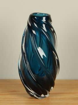 Vase Glas petrol/blau 33 cm