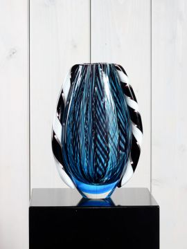 Vase Glas blau/schwarz GL10760