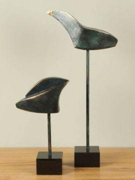 Statue Bronze Vogel 2 Stück