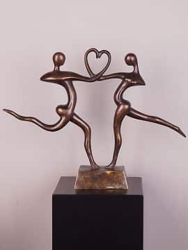 Statue Bronze 2 personen met hart