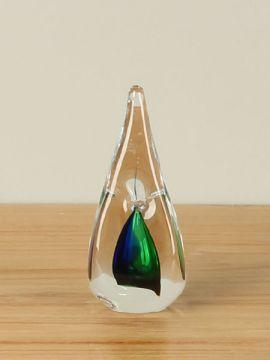 Glasskulptur viereckig grün/blau