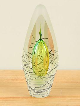 Dekofigur mattiert Glas Kristal gelb/grün mit schwarzen Kurven