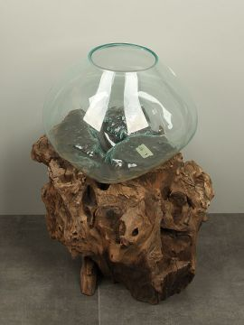 Vase Glas auf Baumstumpf V/6-40