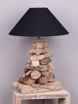 Schemerlamp drijfhout, 60 cm. lampenkap zwart