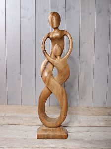 "Statue Holz ""Ouder/Kind"" 80 cm. LE-15"