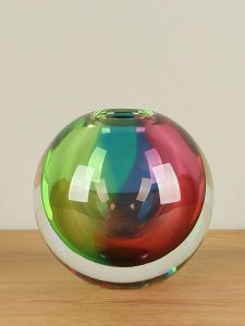 Ball Vase Glas Regenbogen 12 cm.