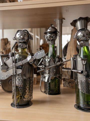 Metalen wijnfleshouder