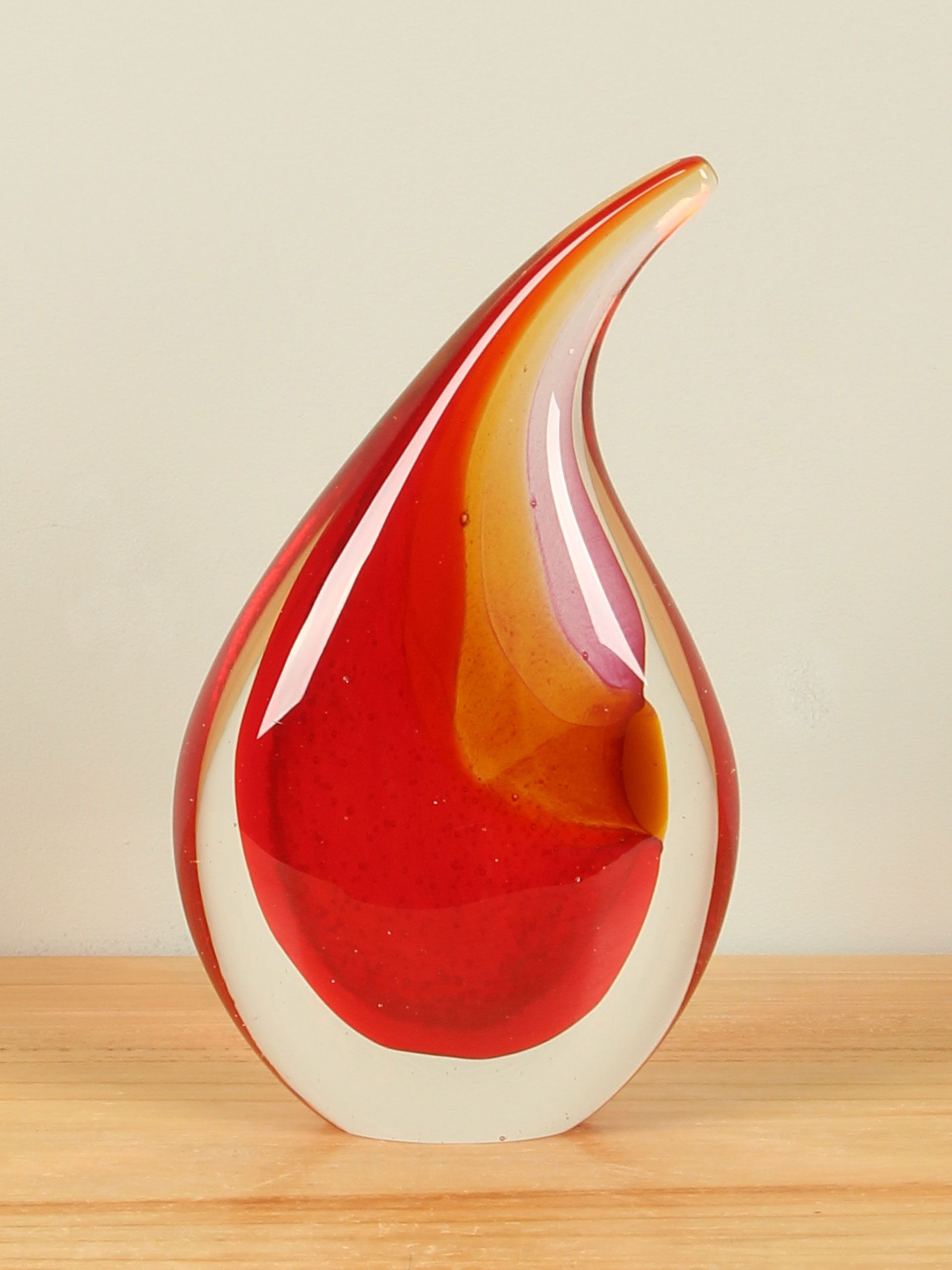 Glazen druppel rood/geel, 19 cm 2a003