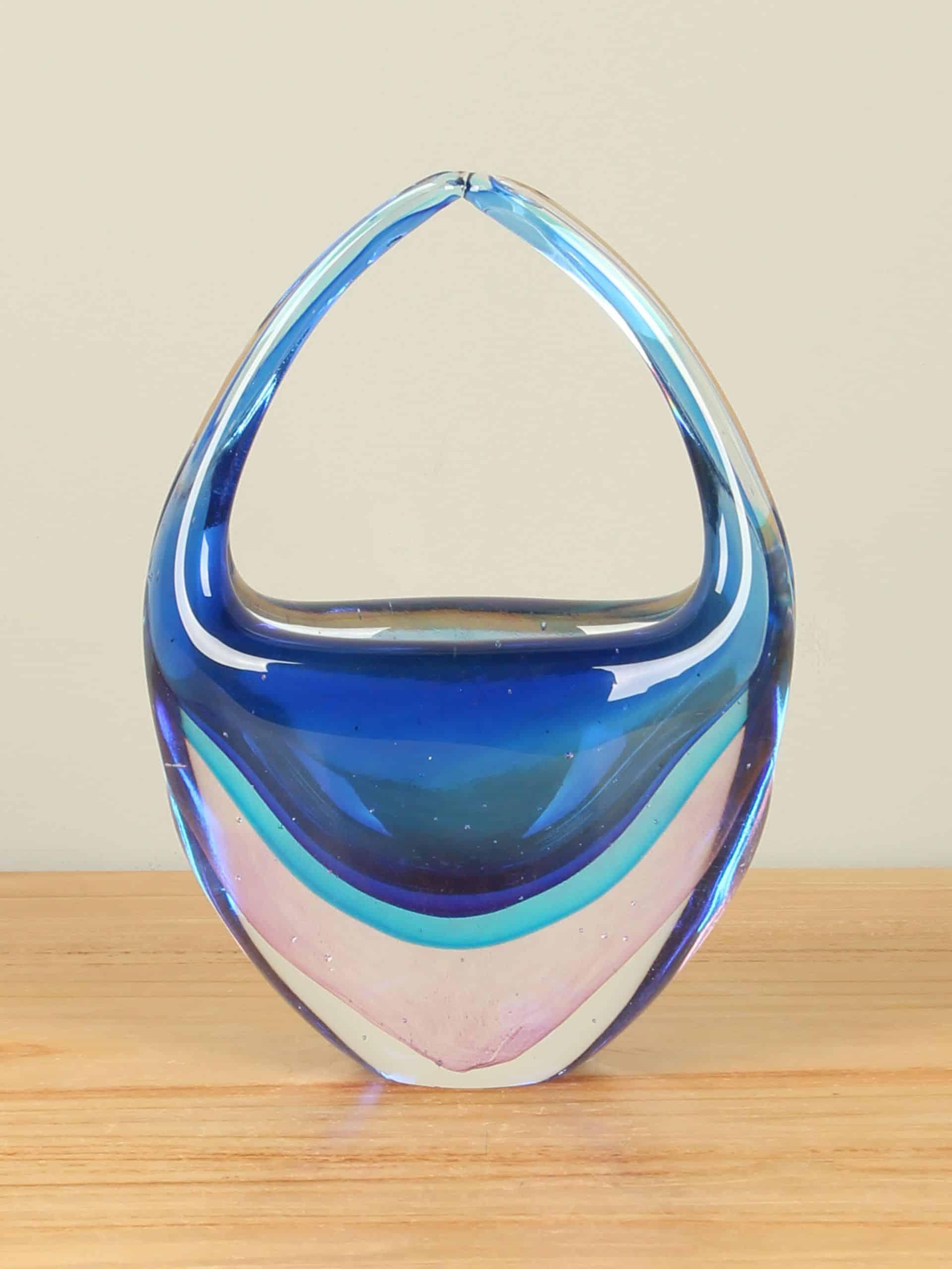 Glazen mandje blauw/roze, 20 cm