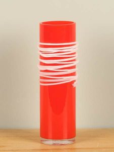 Vase Glas Spirale rot/weiß 29 cm