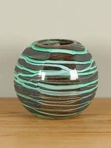 Vase rund grün/gebrannt Petrovskiy