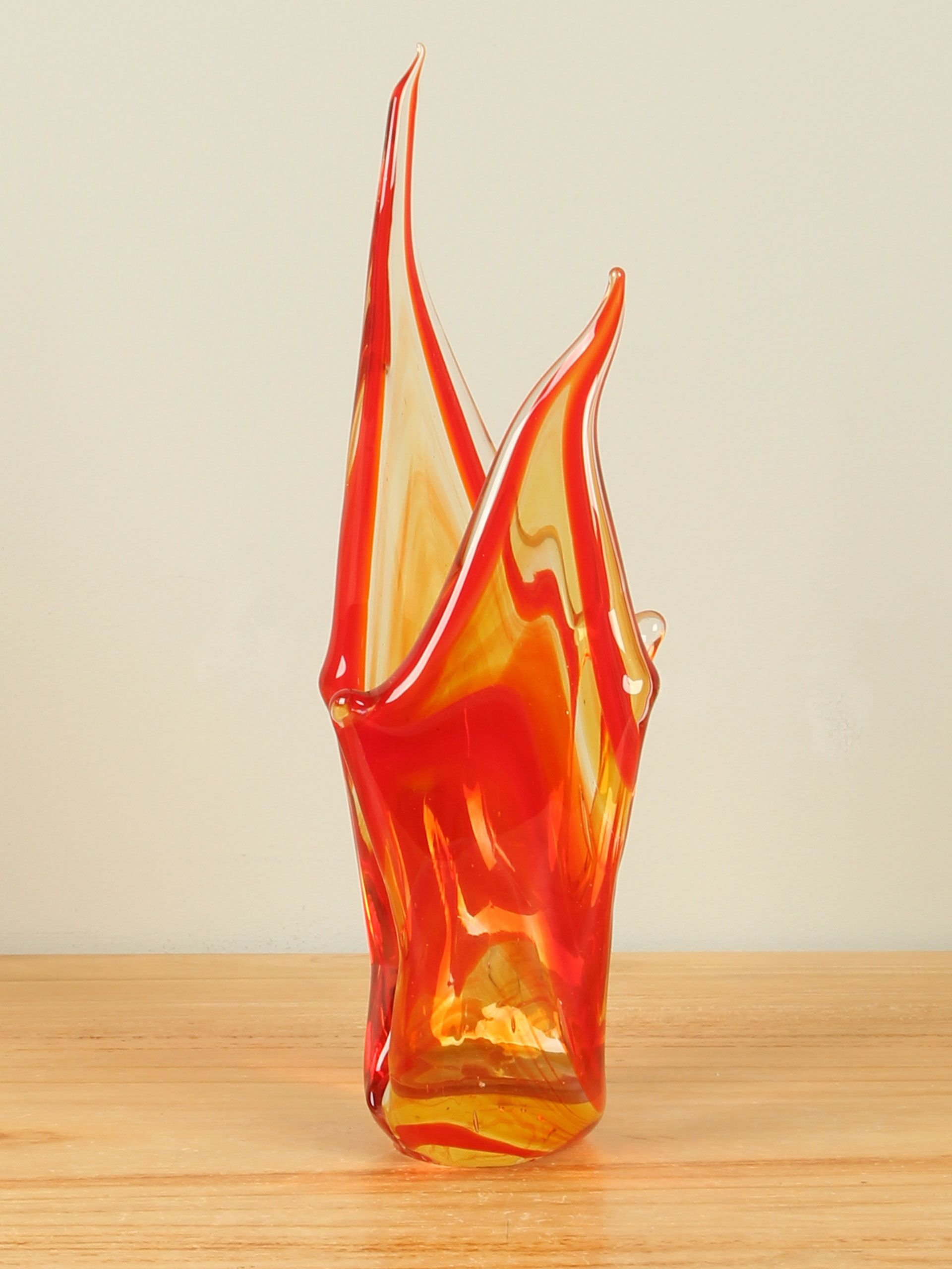 Vlam glas rood/geel, 24 cm 2a008