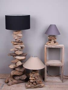 Schirmlampe aus Holzstücken 130 cm