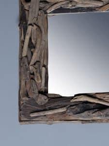 treibholz-Spiegel 50x50 cm.