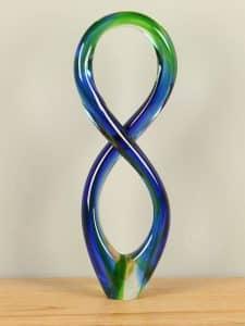 Glas Deko grün/blau