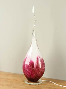 Glasdeko Schirmlampe rosa