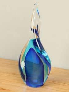 Glasskulptuur aqua/kobalt 20 cm. 2007RF