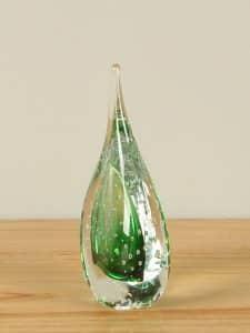 Glasdekoration grün 13 cm
