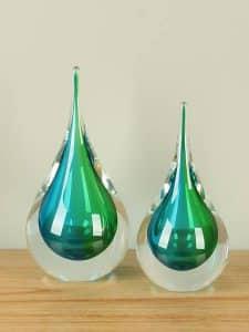 Dekofigur Glas blau/grün 22 cm.