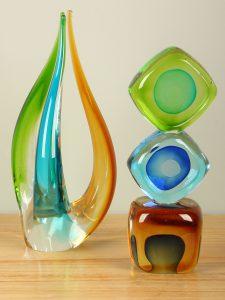 Glasdekoration ocker/blau/grün