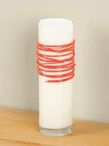 Vase Glas Spirale weiß/rot 29 cm