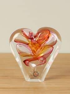 Herz Glas rot/braun klein