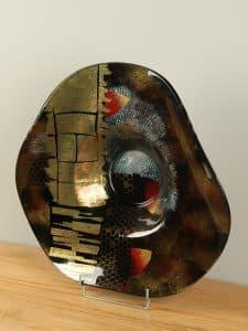 Schale Glas gold/schwarz SCG-4548