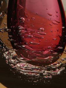 Object Glas rosa/schwarz 28 cm