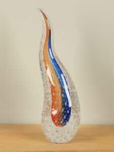 Dekofigur Glas Ringel Kristal orange/blau 30 cm