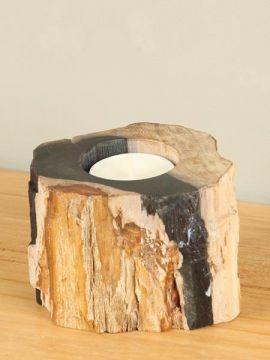Waxinelichtje versteend hout nr. 28