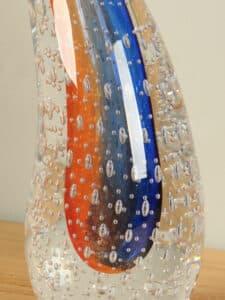 Dekofigur Glas Ringel Kristal orange/blau 24 cm