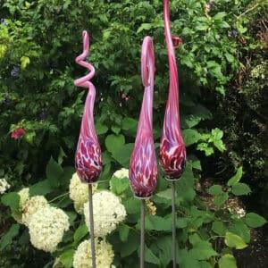 glazen tuinprikkers roze