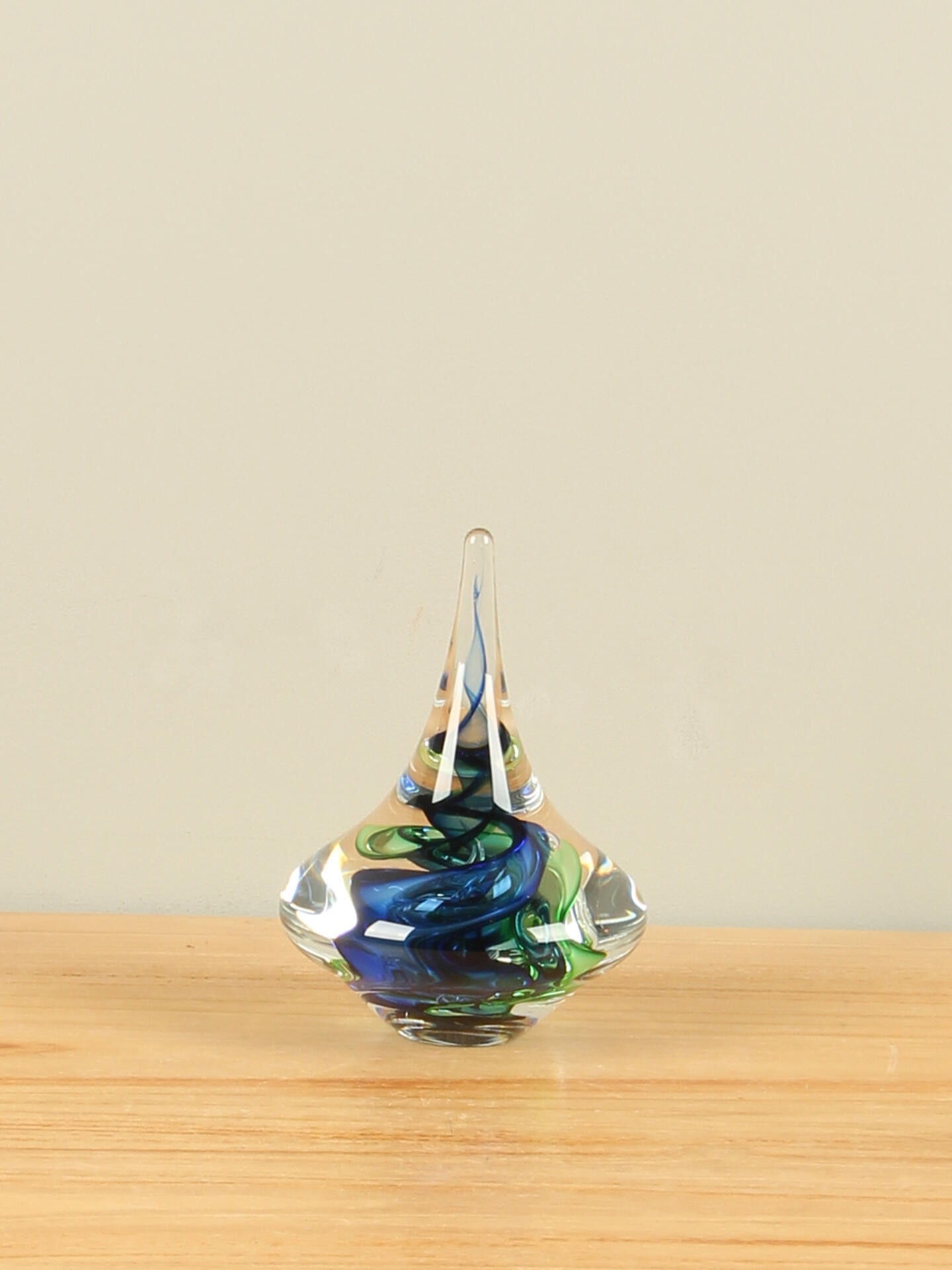 Glazen Tol blauw/groen 13 cm.